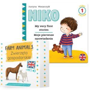 karty obrazkowe zwierzęta gospodarskie i dwujęzyczna książka