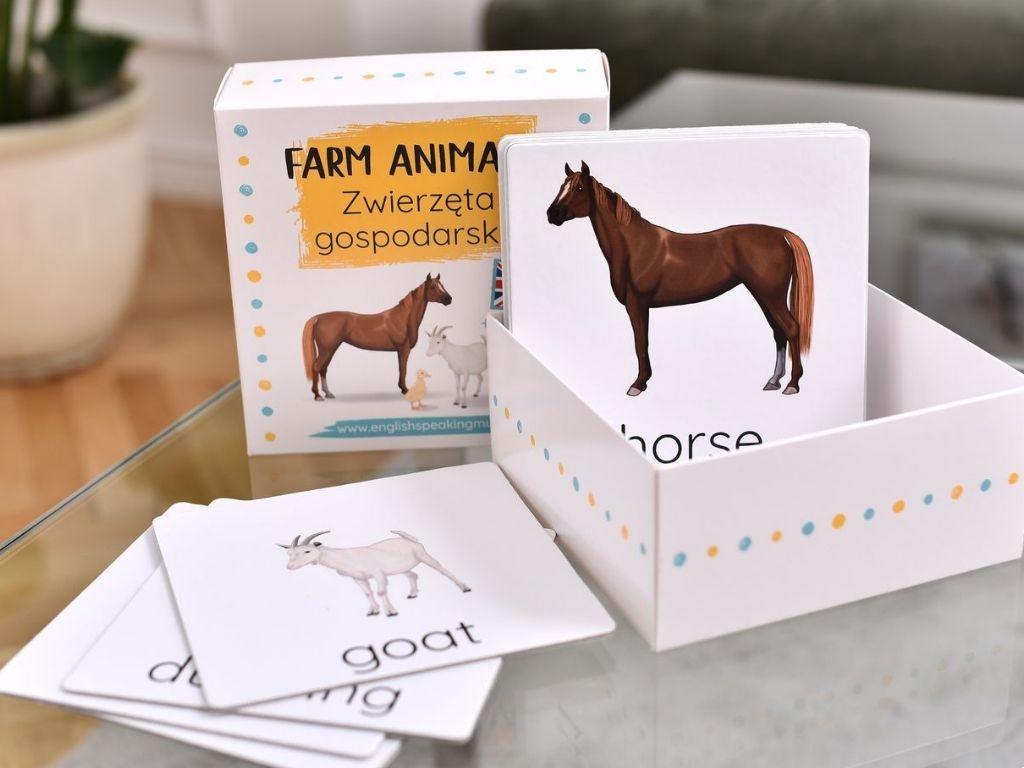 karty obrazkowe farm animals