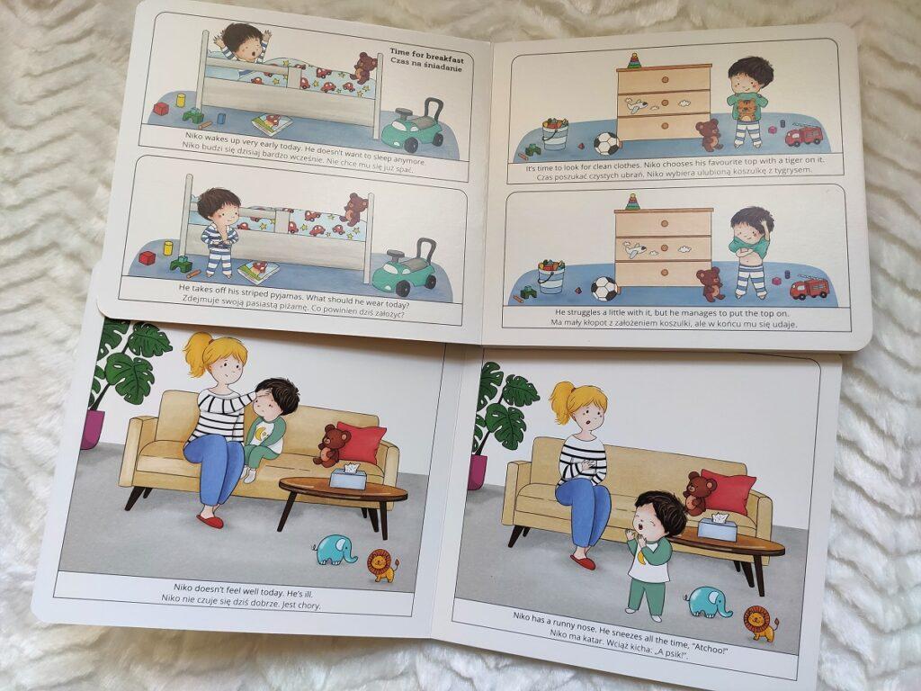 środek książki Niko is ill i oje pierwsze opowiadania